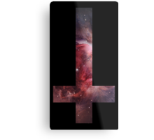 Upside down Cross Galaxy Metal Print