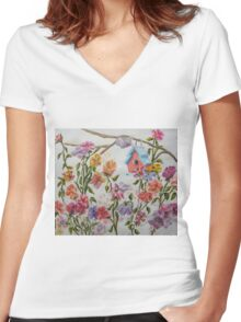 PAW-SCH - RED BIRD HOUSE HIDING IN THE FLOWERS Women's Fitted V-Neck T-Shirt