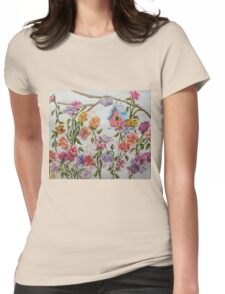 PAW-SCH - RED BIRD HOUSE HIDING IN THE FLOWERS Womens Fitted T-Shirt
