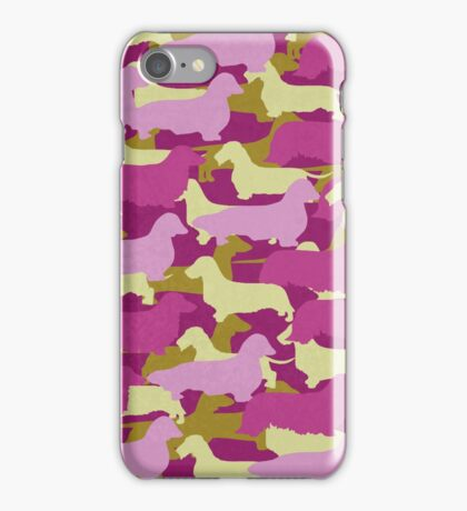 Distressed Camo Dachshund Silhouettes - Smooth, Wire, Long, Hair, Coat, Longhair, Wirehair iPhone Case/Skin