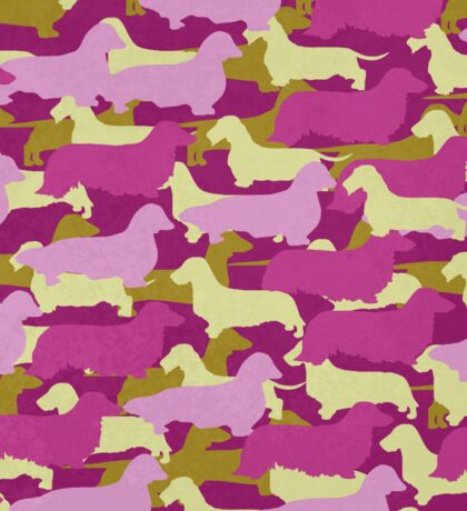 Distressed Camo Dachshund Silhouettes - Smooth, Wire, Long, Hair, Coat, Longhair, Wirehair Sticker