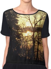 Quebec Canada Beautiful Sunset  Chiffon Top