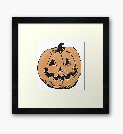 orange jack-o-lantern Framed Print