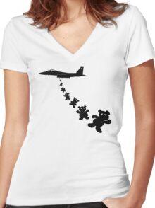 Teddy bear bomber Women's Fitted V-Neck T-Shirt