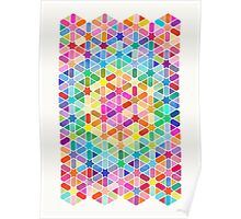 Rainbow Honeycomb with Stars Poster