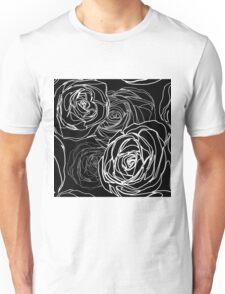 Seamless black rose pattern Unisex T-Shirt