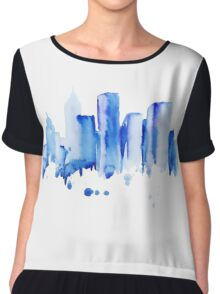 silhouette of the city of new York watercolor hand-drawn Chiffon Top