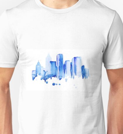 silhouette of the city of new York watercolor hand-drawn Unisex T-Shirt