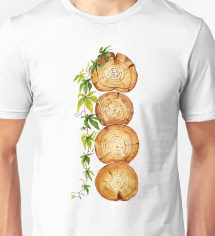 watercolor cross section of tree trunk with  climbing plant Unisex T-Shirt