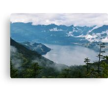 Fog over water in British Columbia Canvas Print