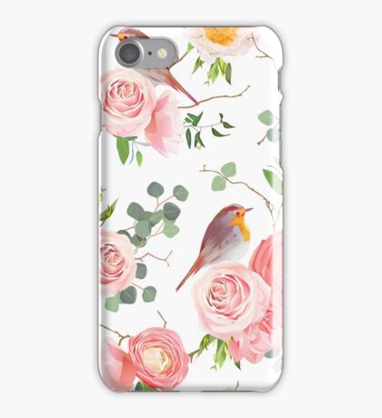 Natural vector seamless floral pattern with cute robin birds iPhone Case/Skin