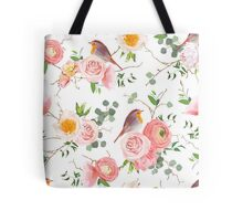 Natural vector seamless floral pattern with cute robin birds Tote Bag