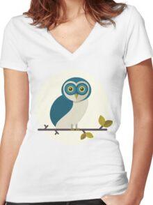 Barn Owl Women's Fitted V-Neck T-Shirt