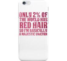 RED HAIR MAJESTIC UNICORN iPhone Case/Skin