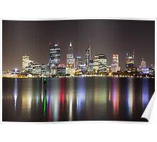 Perth Skyline By Night Poster