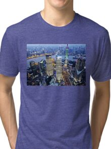 Shanghai Skyscrapers By Night Tri-blend T-Shirt