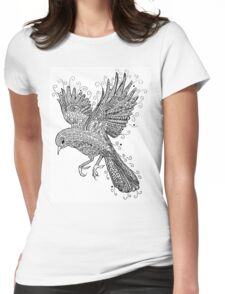 Birds - Black and White Tattoo Womens Fitted T-Shirt