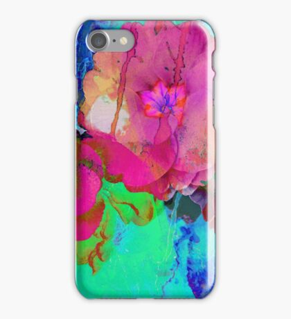Red and Blue Floral Abstract iPhone Case/Skin