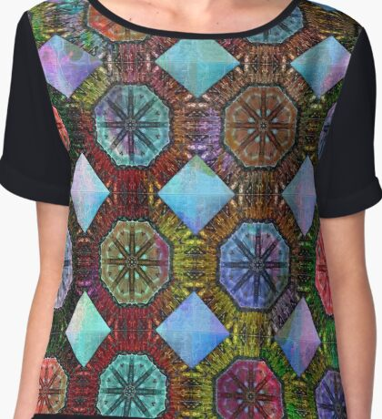 Coloured Chequers Chiffon Top