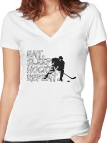 Eat Sleep Hockey Repat - Hockey Fans Women's Fitted V-Neck T-Shirt