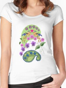 Romantic design with Love Birds and Flowers Women's Fitted Scoop T-Shirt