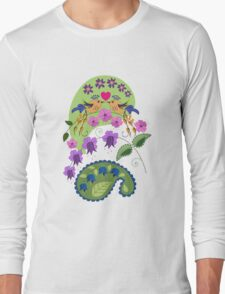 Romantic design with Love Birds and Flowers Long Sleeve T-Shirt