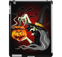 Witch with Jack O'Lantern and Bats iPad Case/Skin