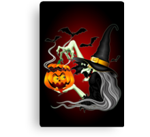 Witch with Jack O'Lantern and Bats Canvas Print