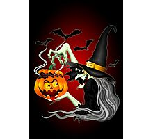 Witch with Jack O'Lantern and Bats Photographic Print