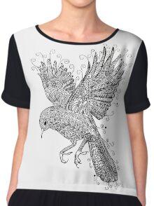 Birds - Black and White Tattoo Chiffon Top