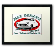 HTR Designs Barely Legal Kustoms garage Framed Print