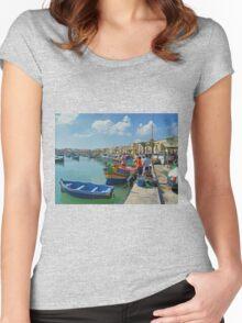 Marsaxlokk Harbour Women's Fitted Scoop T-Shirt