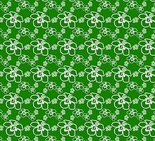 Green And White Hibiscus Hawaiian Pattern by BailoutIsland