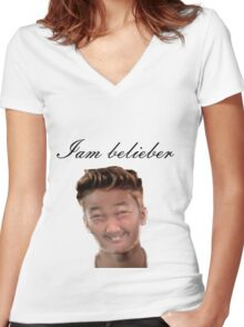 do you love Justin? Women's Fitted V-Neck T-Shirt