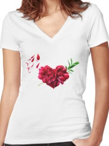 Heart of the petals and peony leaves Women's Fitted V-Neck T-Shirt