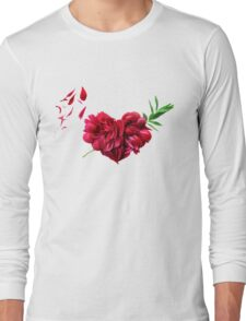 Heart of the petals and peony leaves Long Sleeve T-Shirt