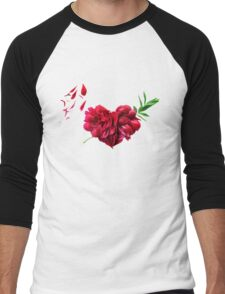 Heart of the petals and peony leaves Men's Baseball ¾ T-Shirt