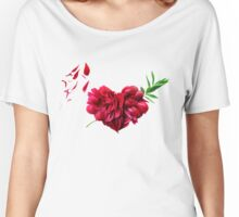 Heart of the petals and peony leaves Women's Relaxed Fit T-Shirt