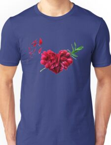 Heart of the petals and peony leaves Unisex T-Shirt