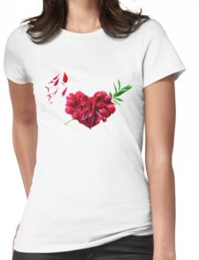 Heart of the petals and peony leaves Womens Fitted T-Shirt