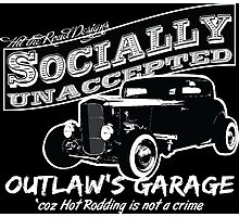 Outlaw's Garage. Socially unaccepted Hot Rod. Photographic Print