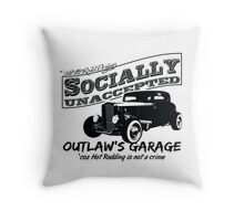 Outlaw's Garage. Socially unaccepted Hot Rod light bkg Throw Pillow