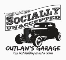 Outlaw's Garage. Socially unaccepted Hot Rod light bkg One Piece - Long Sleeve