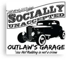 Outlaw's Garage. Socially unaccepted Hot Rod light bkg Canvas Print
