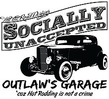 Outlaw's Garage. Socially unaccepted Hot Rod light bkg Photographic Print