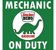 Sinclair Dino Mechanic on Duty vintage sign Photographic Print