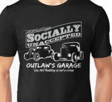 Outlaw's Garage. Socially unaccepted Hot Rods dark bkg Unisex T-Shirt