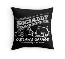 Outlaw's Garage. Socially unaccepted Hot Rods dark bkg Throw Pillow