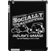 Outlaw's Garage. Socially unaccepted Hot Rods dark bkg iPad Case/Skin