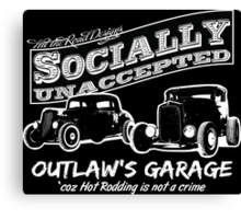Outlaw's Garage. Socially unaccepted Hot Rods dark bkg Canvas Print